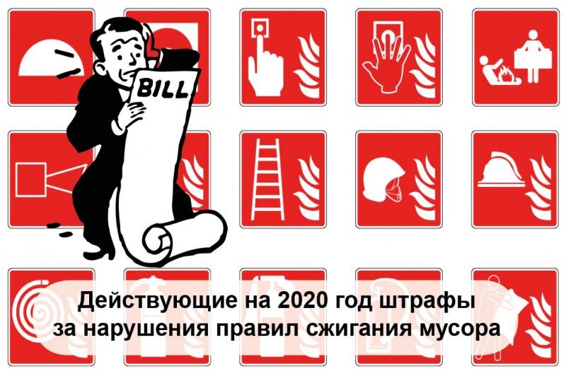 действующие штрафы на 2020 год за нарушение правил сжигания мусора