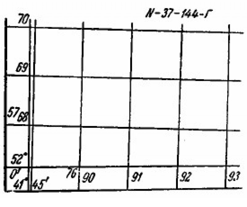 Координатная сетка на карте М 1:50000 (2)