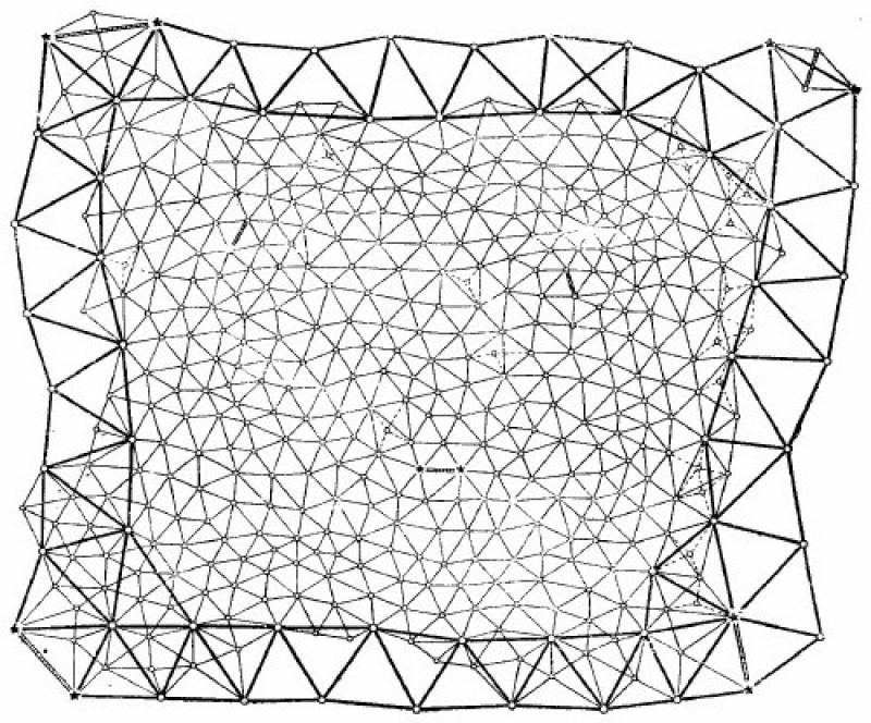 Схема построения триангуляционной сети.