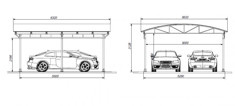 Пример размера навеса для двух машин