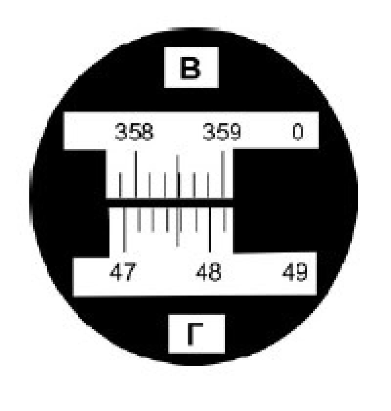 Отсчеты вертикального и горизонтального угла.