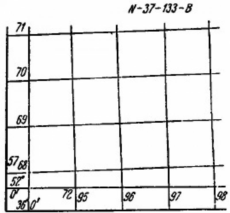 Координатная сетка на карте М 1:50000.