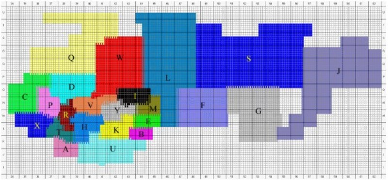 Схема районирования номенклатурных карт в СК-63