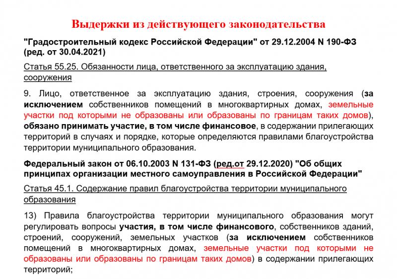 ГрК РФ и закон о местном самоуправлении выдержки о благоустройстве МКД